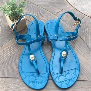 COACH Teal Pier Jelly Sandals